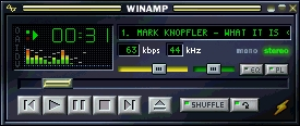 рис. 7. Проигрывание файла в формате  Windows Media Audio 8 программой WinAmp версии 2.76